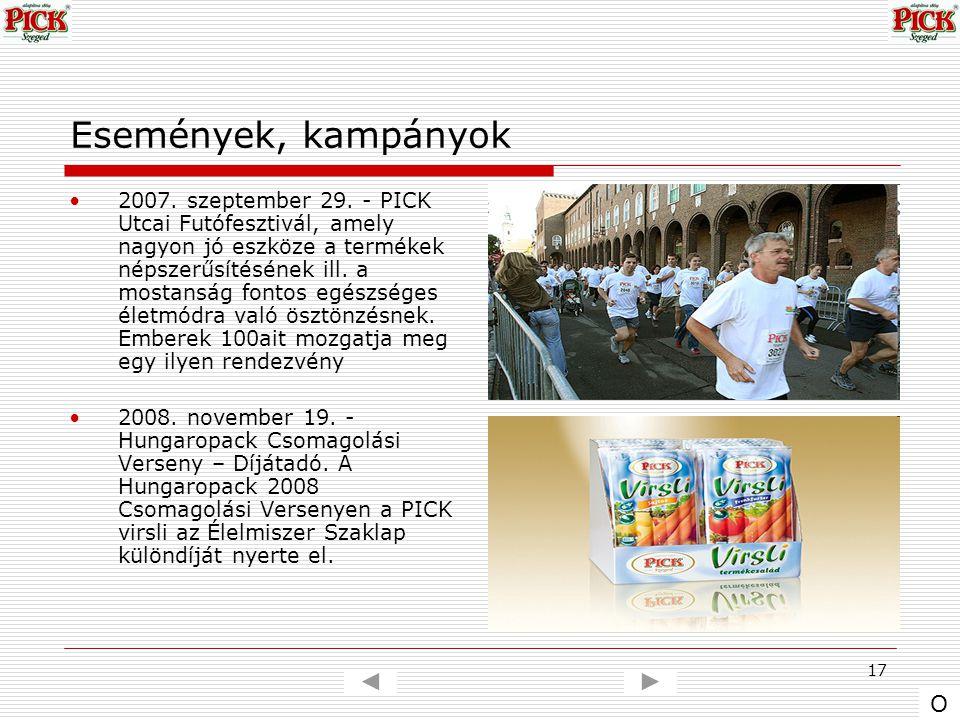 17 Események, kampányok 2007. szeptember 29. - PICK Utcai Futófesztivál, amely nagyon jó eszköze a termékek népszerűsítésének ill. a mostanság fontos