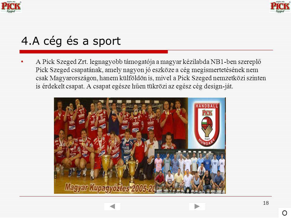 18 4.A cég és a sport A Pick Szeged Zrt. legnagyobb támogatója a magyar kézilabda NB1-ben szereplő Pick Szeged csapatának, amely nagyon jó eszköze a c