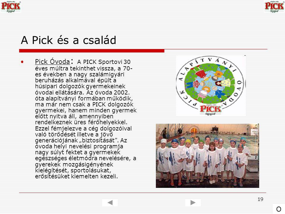 19 A Pick és a család Pick Óvoda : A PICK Sportovi 30 éves múltra tekinthet vissza, a 70- es években a nagy szalámigyári beruházás alkalmával épült a