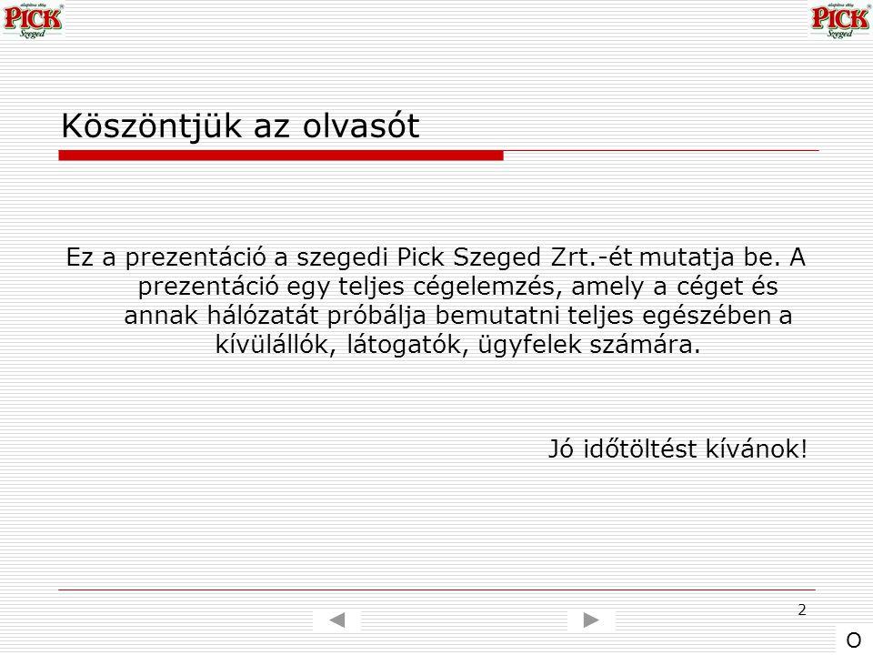 2 Köszöntjük az olvasót Ez a prezentáció a szegedi Pick Szeged Zrt.-ét mutatja be. A prezentáció egy teljes cégelemzés, amely a céget és annak hálózat