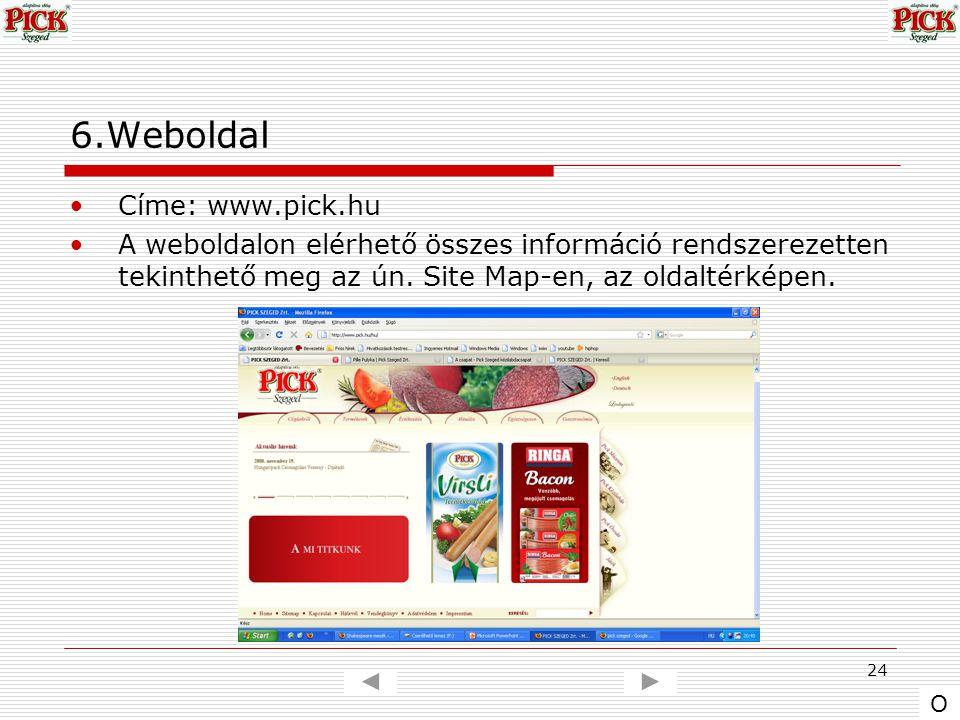 24 6.Weboldal Címe: www.pick.hu A weboldalon elérhető összes információ rendszerezetten tekinthető meg az ún. Site Map-en, az oldaltérképen. O