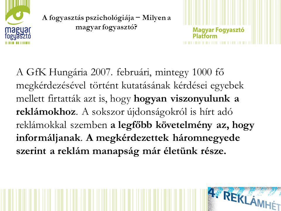 A GfK Hungária 2007. februári, mintegy 1000 fő megkérdezésével történt kutatásának kérdései egyebek mellett firtatták azt is, hogy hogyan viszonyulunk