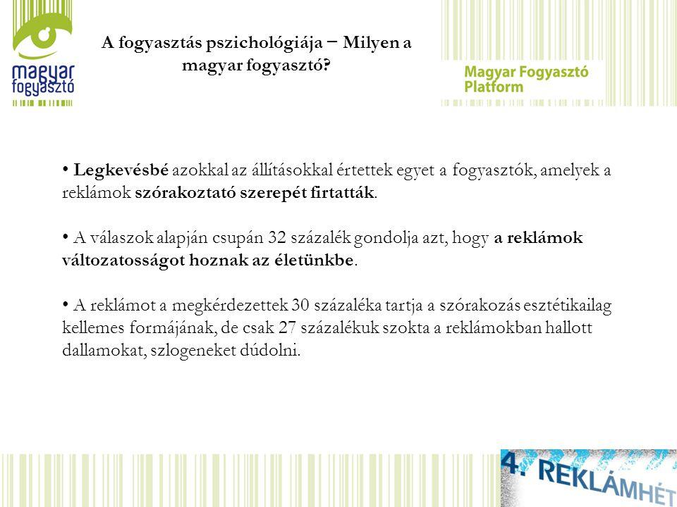 A fogyasztás pszichológiája − Milyen a magyar fogyasztó? Legkevésbé azokkal az állításokkal értettek egyet a fogyasztók, amelyek a reklámok szórakozta