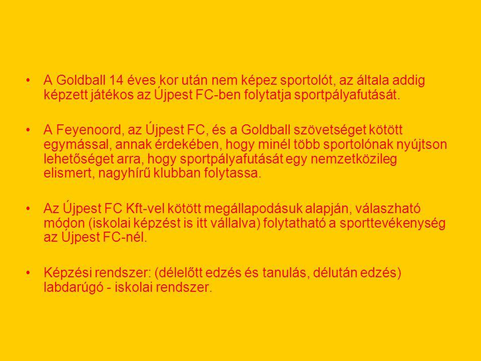 A Goldball 14 éves kor után nem képez sportolót, az általa addig képzett játékos az Újpest FC-ben folytatja sportpályafutását. A Feyenoord, az Újpest