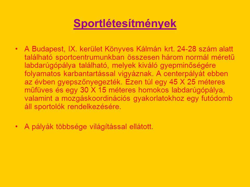 Sportlétesítmények A Budapest, IX. kerület Könyves Kálmán krt. 24-28 szám alatt található sportcentrumunkban összesen három normál méretű labdarúgópál