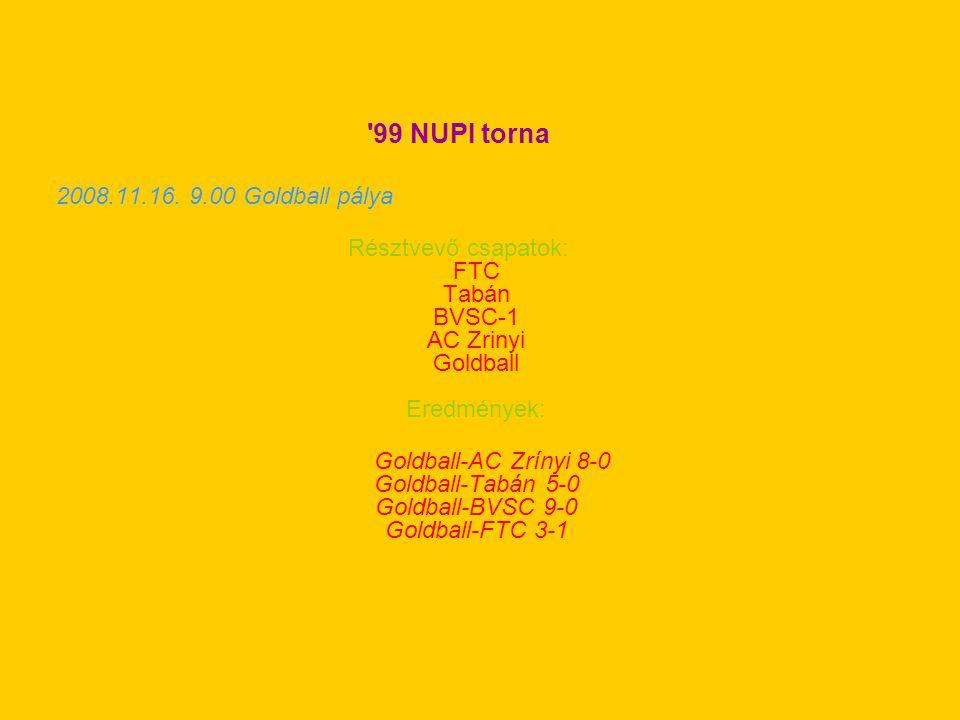 '99 NUPI torna 2008.11.16. 9.00 Goldball pálya Résztvevő csapatok: FTC Tabán BVSC-1 AC Zrinyi Goldball Eredmények: Goldball-AC Zrínyi 8-0 Goldball-Tab