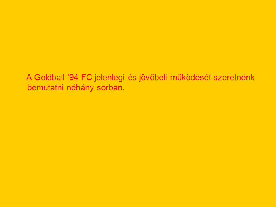 A Goldball '94 FC jelenlegi és jövőbeli működését szeretnénk bemutatni néhány sorban.