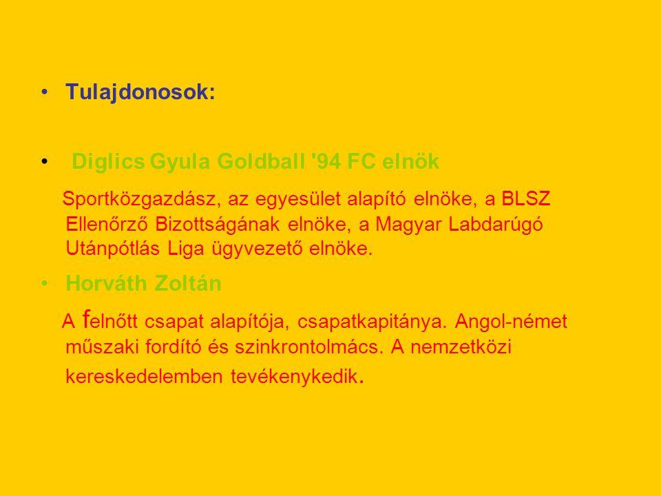 Tulajdonosok: Diglics Gyula Goldball '94 FC elnök Sportközgazdász, az egyesület alapító elnöke, a BLSZ Ellenőrző Bizottságának elnöke, a Magyar Labdar