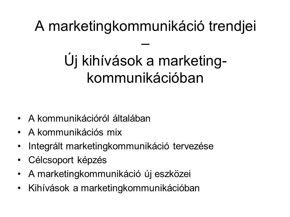 A marketingkommunikáció trendjei – Új kihívások a marketing- kommunikációban A kommunikációról általában A kommunikációs mix Integrált marketingkommun