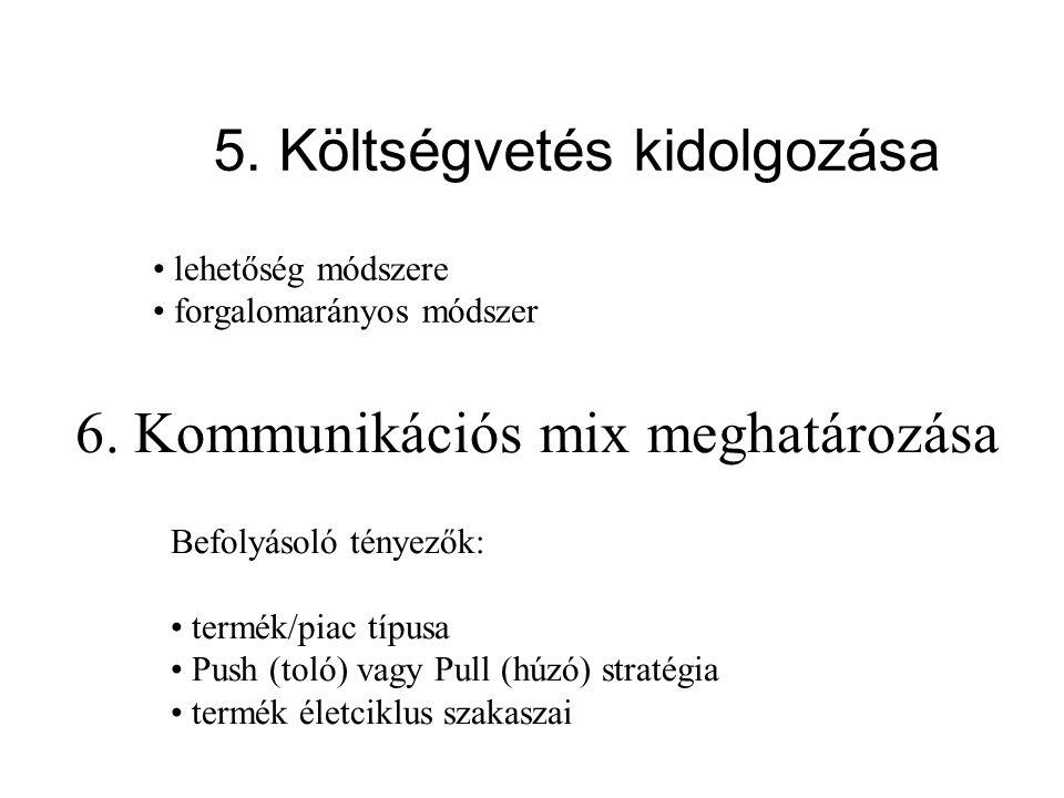 5. Költségvetés kidolgozása lehetőség módszere forgalomarányos módszer 6. Kommunikációs mix meghatározása Befolyásoló tényezők: termék/piac típusa Pus