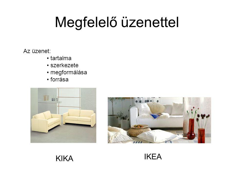 Megfelelő üzenettel KIKA IKEA Az üzenet: tartalma szerkezete megformálása forrása