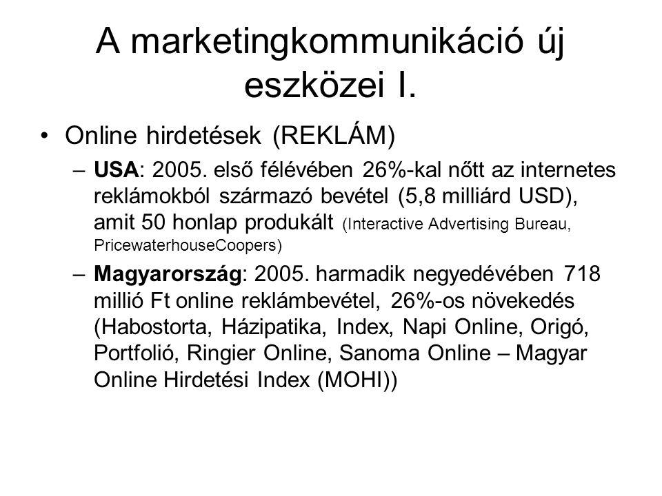 A marketingkommunikáció új eszközei I. Online hirdetések (REKLÁM) –USA: 2005. első félévében 26%-kal nőtt az internetes reklámokból származó bevétel (