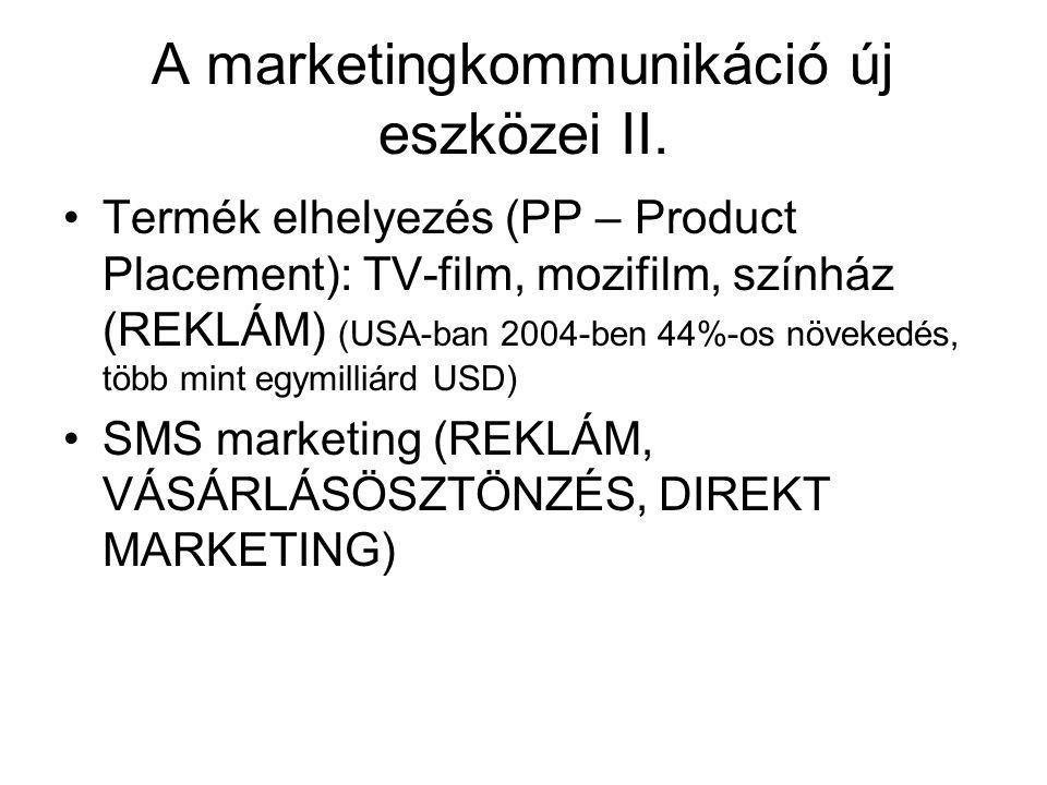 A marketingkommunikáció új eszközei II. Termék elhelyezés (PP – Product Placement): TV-film, mozifilm, színház (REKLÁM) (USA-ban 2004-ben 44%-os növek