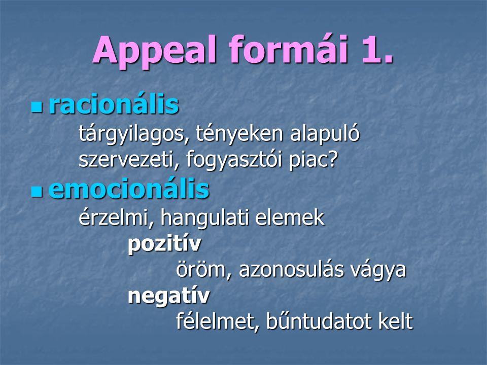 Appeal formái 1. racionális racionális tárgyilagos, tényeken alapuló szervezeti, fogyasztói piac? emocionális emocionális érzelmi, hangulati elemek po