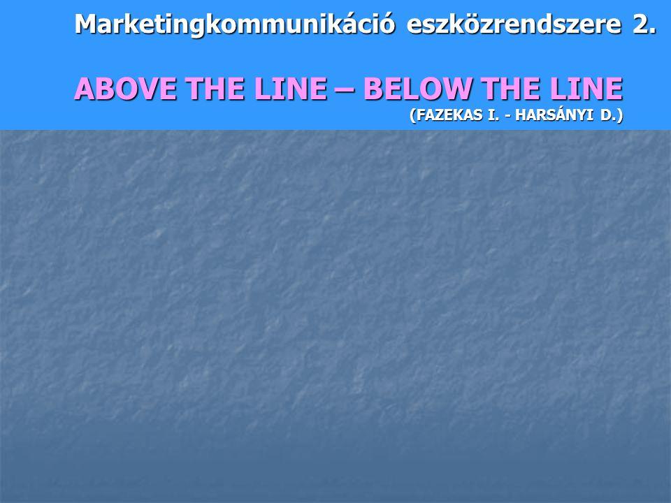 Marketingkommunikáció eszközrendszere 2. ABOVE THE LINE – BELOW THE LINE (FAZEKAS I. - HARSÁNYI D.)