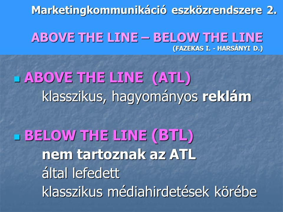 ABOVE THE LINE (ATL) ABOVE THE LINE (ATL) klasszikus, hagyományos reklám BELOW THE LINE (BTL ) BELOW THE LINE (BTL ) nem tartoznak az ATL által lefede