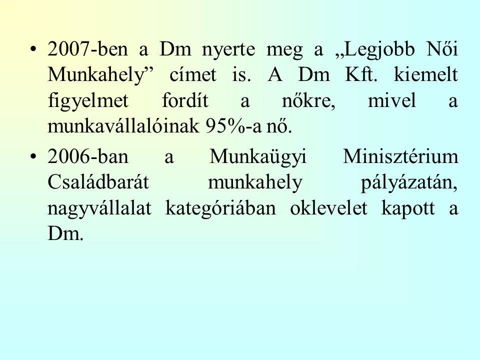 """2007-ben a Dm nyerte meg a """"Legjobb Női Munkahely címet is."""