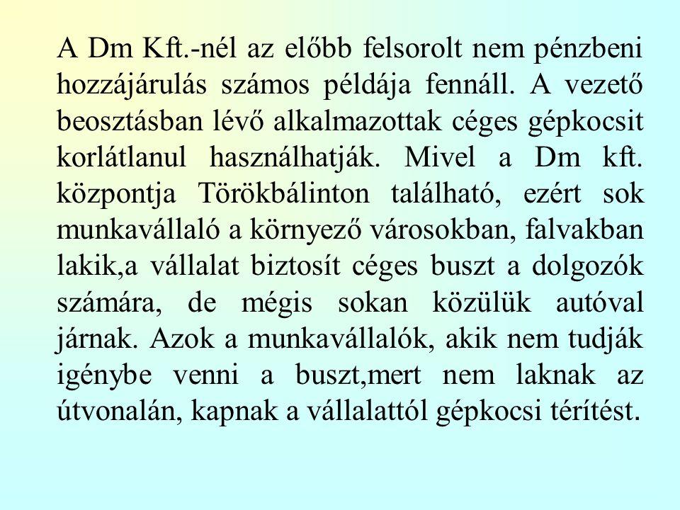 A Dm Kft.-nél az előbb felsorolt nem pénzbeni hozzájárulás számos példája fennáll.