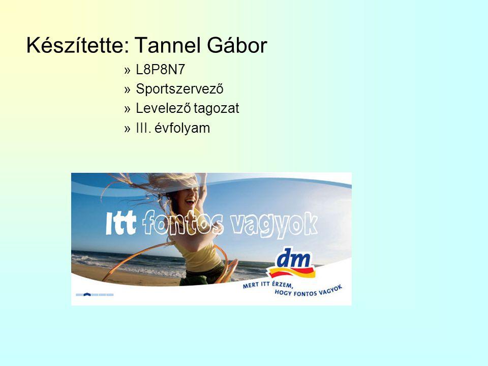 Készítette: Tannel Gábor »L8P8N7 »Sportszervező »Levelező tagozat »III. évfolyam