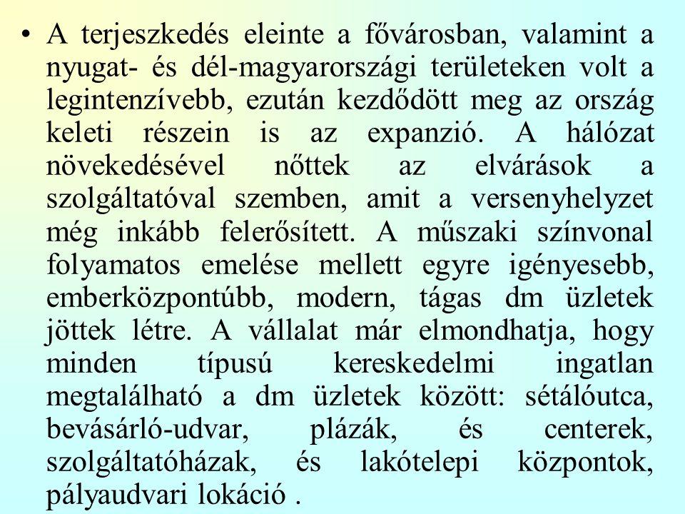 A terjeszkedés eleinte a fővárosban, valamint a nyugat- és dél-magyarországi területeken volt a legintenzívebb, ezután kezdődött meg az ország keleti részein is az expanzió.