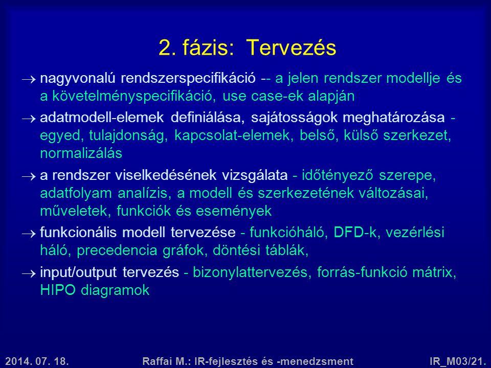 2014. 07. 18.Raffai M.: IR-fejlesztés és -menedzsmentIR_M03/21. 2. fázis: Tervezés  nagyvonalú rendszerspecifikáció -- a jelen rendszer modellje és a