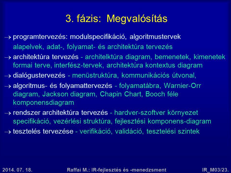 2014. 07. 18.Raffai M.: IR-fejlesztés és -menedzsmentIR_M03/23. 3. fázis: Megvalósítás  programtervezés: modulspecifikáció, algoritmustervek alapelve