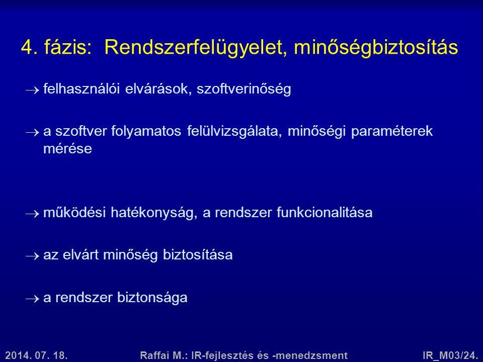 2014. 07. 18.Raffai M.: IR-fejlesztés és -menedzsmentIR_M03/24. 4. fázis: Rendszerfelügyelet, minőségbiztosítás  felhasználói elvárások, szoftverinős