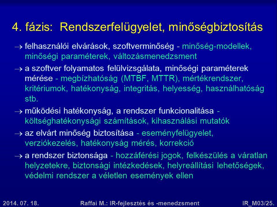 2014. 07. 18.Raffai M.: IR-fejlesztés és -menedzsmentIR_M03/25. 4. fázis: Rendszerfelügyelet, minőségbiztosítás  felhasználói elvárások, szoftverminő