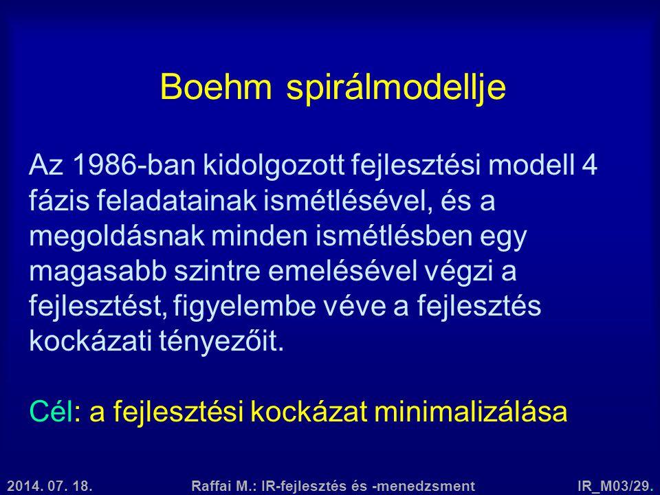 2014. 07. 18.Raffai M.: IR-fejlesztés és -menedzsmentIR_M03/29. Boehm spirálmodellje Az 1986-ban kidolgozott fejlesztési modell 4 fázis feladatainak i