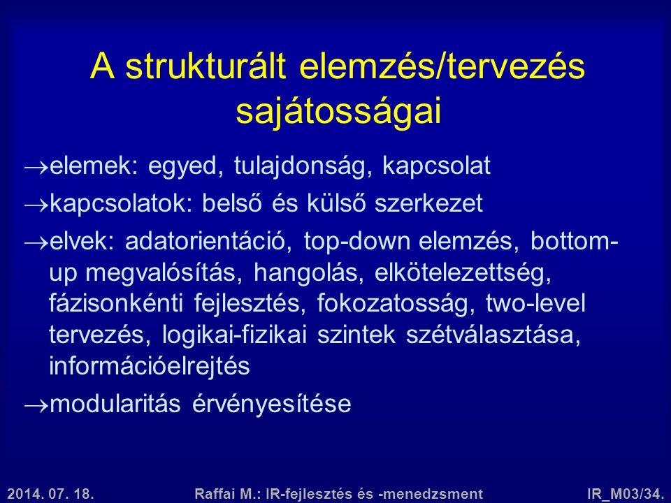 2014. 07. 18.Raffai M.: IR-fejlesztés és -menedzsmentIR_M03/34. A strukturált elemzés/tervezés sajátosságai  elemek: egyed, tulajdonság, kapcsolat 
