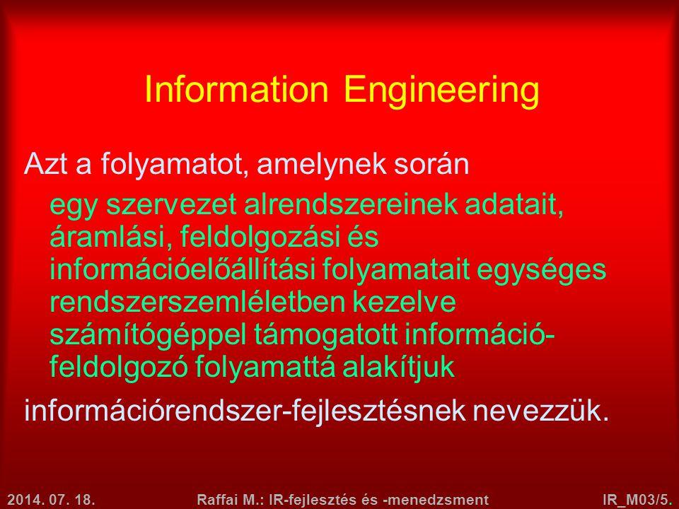 2014. 07. 18.Raffai M.: IR-fejlesztés és -menedzsmentIR_M03/5. Information Engineering Azt a folyamatot, amelynek során egy szervezet alrendszereinek