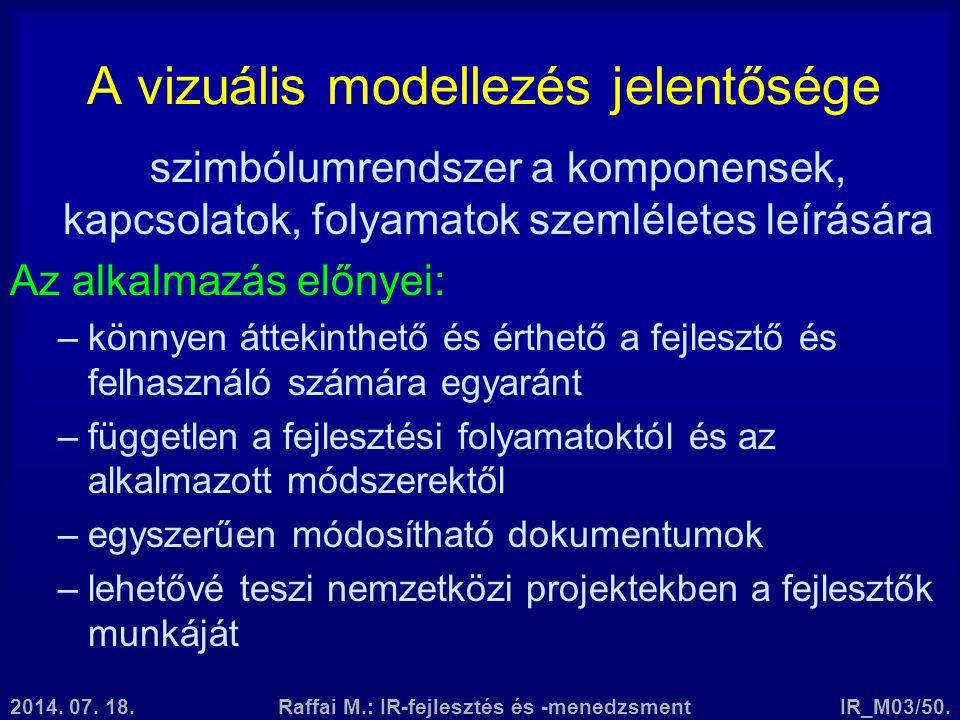 2014. 07. 18.Raffai M.: IR-fejlesztés és -menedzsmentIR_M03/50. A vizuális modellezés jelentősége szimbólumrendszer a komponensek, kapcsolatok, folyam