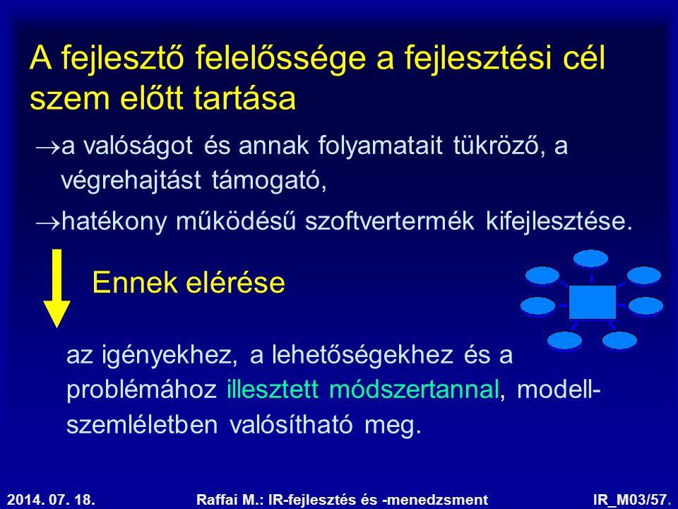 2014. 07. 18.Raffai M.: IR-fejlesztés és -menedzsmentIR_M03/57. A fejlesztő felelőssége a fejlesztési cél szem előtt tartása  a valóságot és annak fo