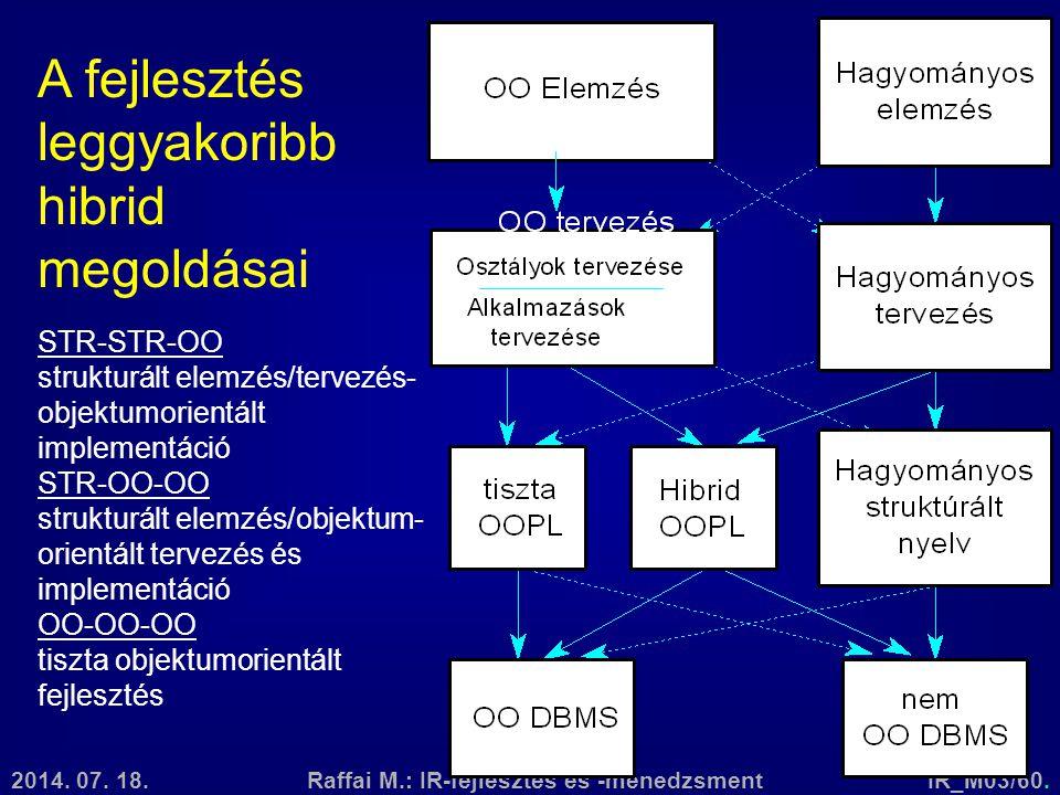 2014. 07. 18.Raffai M.: IR-fejlesztés és -menedzsmentIR_M03/60. STR-STR-OO strukturált elemzés/tervezés- objektumorientált implementáció STR-OO-OO str