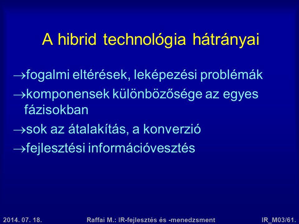 2014. 07. 18.Raffai M.: IR-fejlesztés és -menedzsmentIR_M03/61. A hibrid technológia hátrányai  fogalmi eltérések, leképezési problémák  komponensek