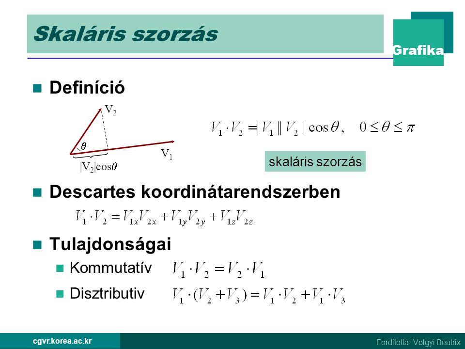 Grafika Fordította: Völgyi Beatrix cgvr.korea.ac.kr Skaláris szorzás Definíció Descartes koordinátarendszerben Tulajdonságai Kommutatív Disztributiv |