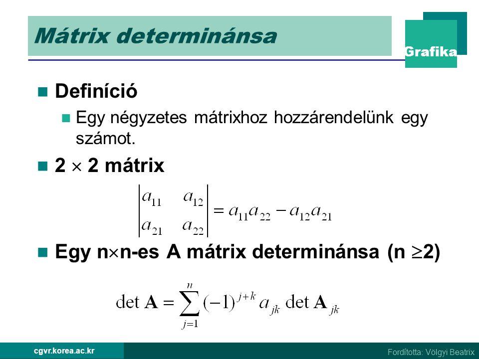 Grafika Fordította: Völgyi Beatrix cgvr.korea.ac.kr Mátrix determinánsa Definíció Egy négyzetes mátrixhoz hozzárendelünk egy számot. 2  2 mátrix Egy