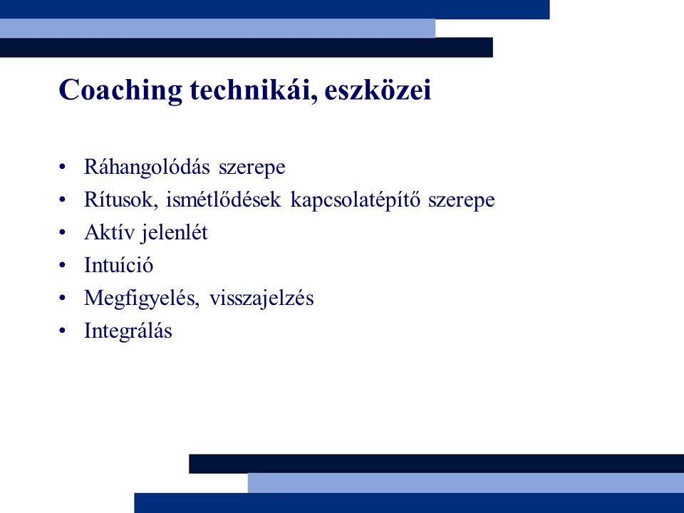 Coaching technikái, eszközei Ráhangolódás szerepe Rítusok, ismétlődések kapcsolatépítő szerepe Aktív jelenlét Intuíció Megfigyelés, visszajelzés Integrálás