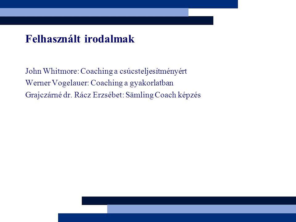 Felhasznált irodalmak John Whitmore: Coaching a csúcsteljesítményért Werner Vogelauer: Coaching a gyakorlatban Grajczárné dr. Rácz Erzsébet: Sämling C