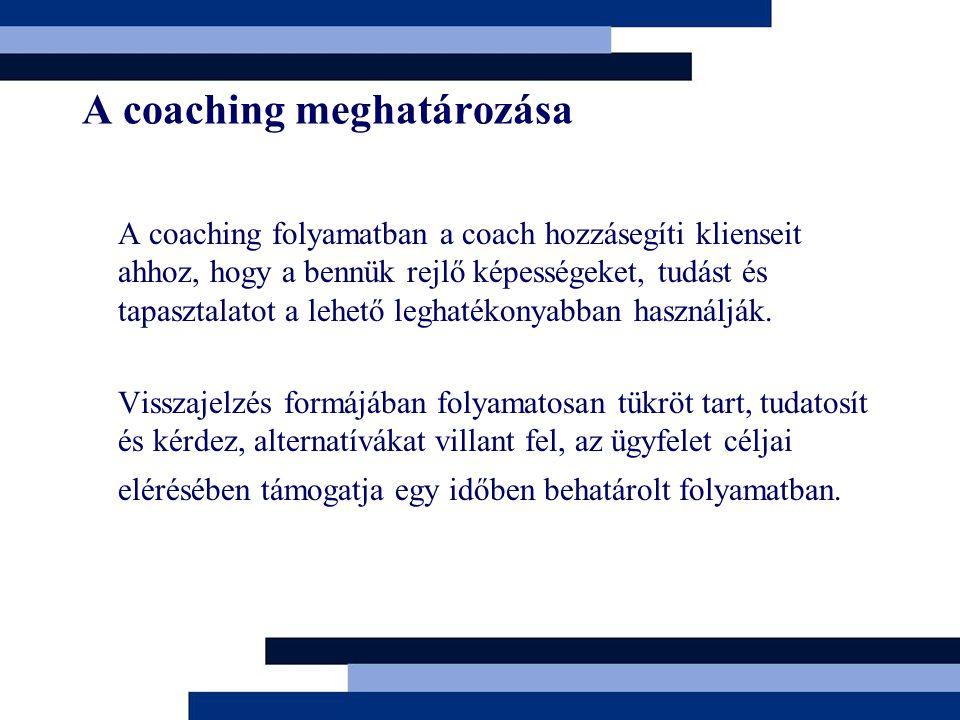 A coaching meghatározása A coaching folyamatban a coach hozzásegíti klienseit ahhoz, hogy a bennük rejlő képességeket, tudást és tapasztalatot a lehető leghatékonyabban használják.
