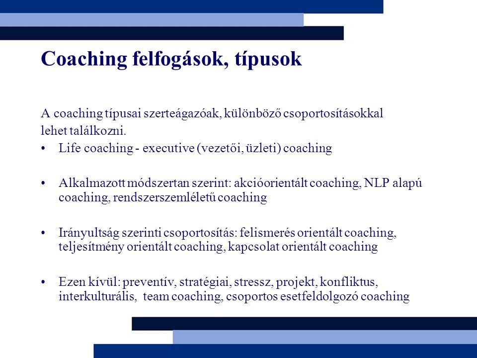 Coaching felfogások, típusok A coaching típusai szerteágazóak, különböző csoportosításokkal lehet találkozni. Life coaching - executive (vezetői, üzle