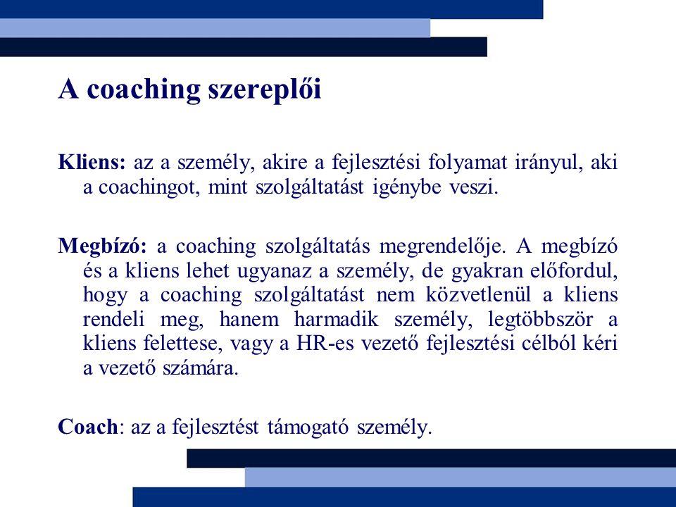 A coaching szereplői Kliens: az a személy, akire a fejlesztési folyamat irányul, aki a coachingot, mint szolgáltatást igénybe veszi. Megbízó: a coachi