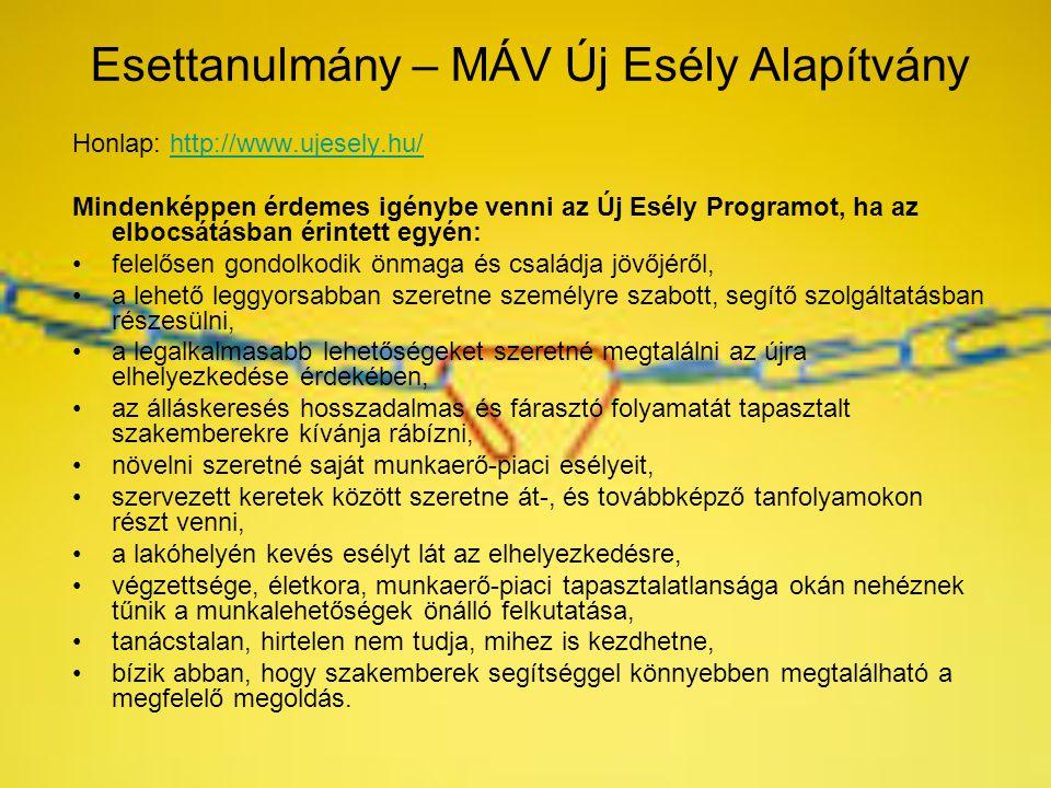 Esettanulmány – MÁV Új Esély Alapítvány Honlap: http://www.ujesely.hu/http://www.ujesely.hu/ Mindenképpen érdemes igénybe venni az Új Esély Programot,