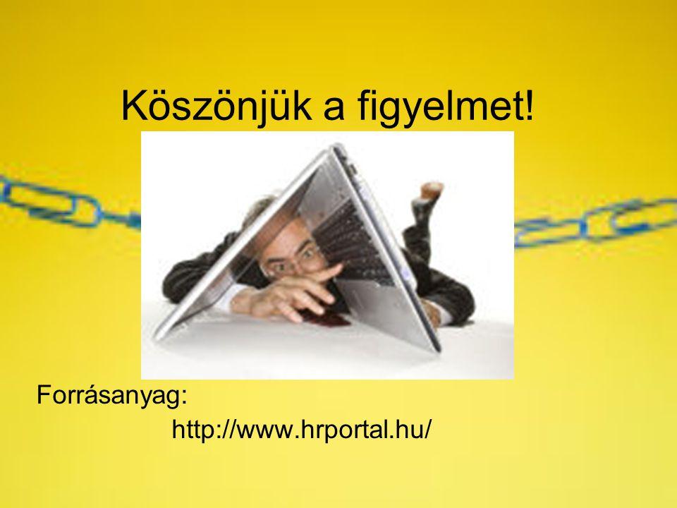 Köszönjük a figyelmet! Forrásanyag: http://www.hrportal.hu/