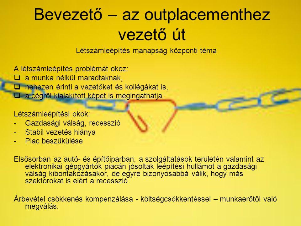 Bevezető – az outplacementhez vezető út Létszámleépítés manapság központi téma A létszámleépítés problémát okoz:  a munka nélkül maradtaknak,  nehez