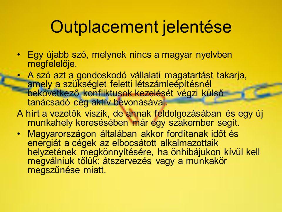 Outplacement jelentése Egy újabb szó, melynek nincs a magyar nyelvben megfelelője. A szó azt a gondoskodó vállalati magatartást takarja, amely a szüks