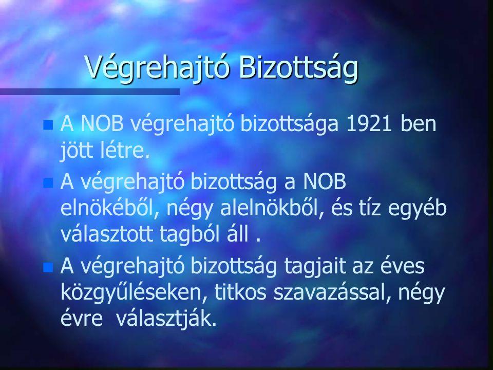 Végrehajtó Bizottság n n A NOB végrehajtó bizottsága 1921 ben jött létre. n n A végrehajtó bizottság a NOB elnökéből, négy alelnökből, és tíz egyéb vá