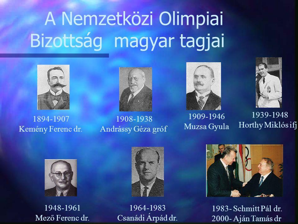 A Nemzetközi Olimpiai Bizottság magyar tagjai 1908-1938 Andrássy Géza gróf 1964-1983 Csanádi Árpád dr. 1983- Schmitt Pál dr. 2000- Aján Tamás dr 1948-