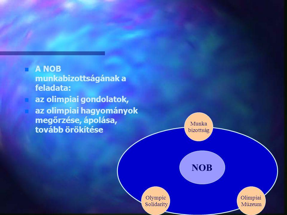 NOB Olympic Solidarity Munka bizottság Olimpiai Múzeum n n A NOB munkabizottságának a feladata: n n az olimpiai gondolatok, n n az olimpiai hagyományo