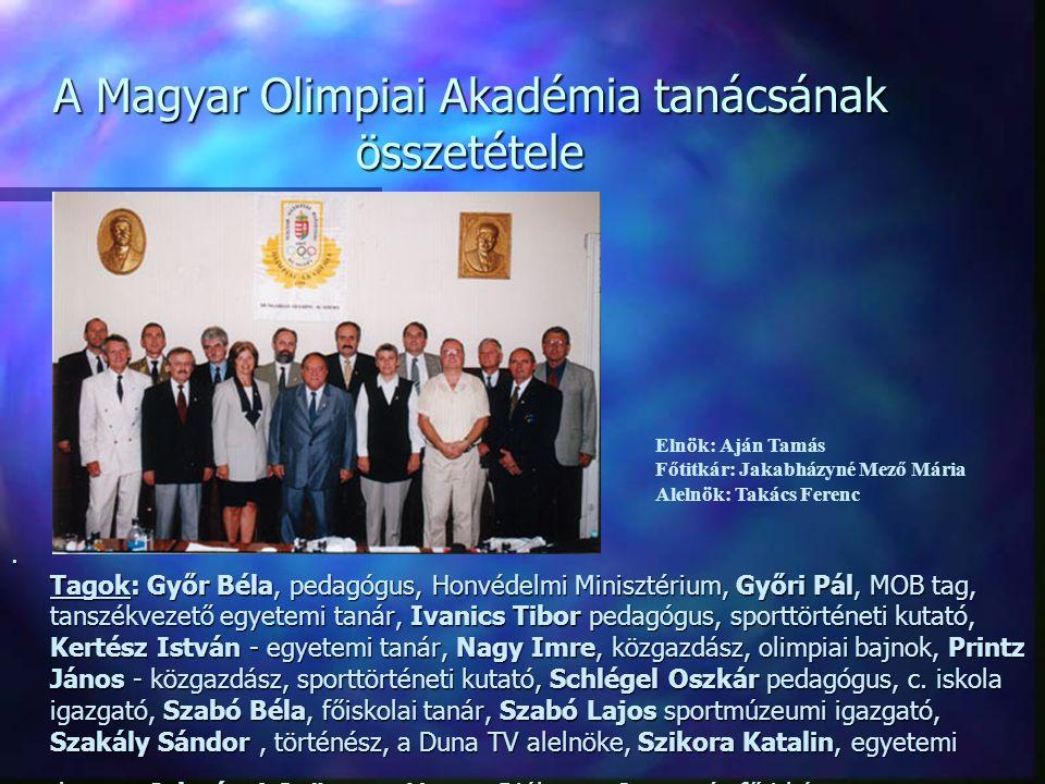 A Magyar Olimpiai Akadémia tanácsának összetétele. Tagok: Győr Béla, pedagógus, Honvédelmi Minisztérium, Győri Pál, MOB tag, tanszékvezető egyetemi ta